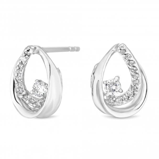 Sterling Silver Cubic Zirconia Open Peardrop Earring