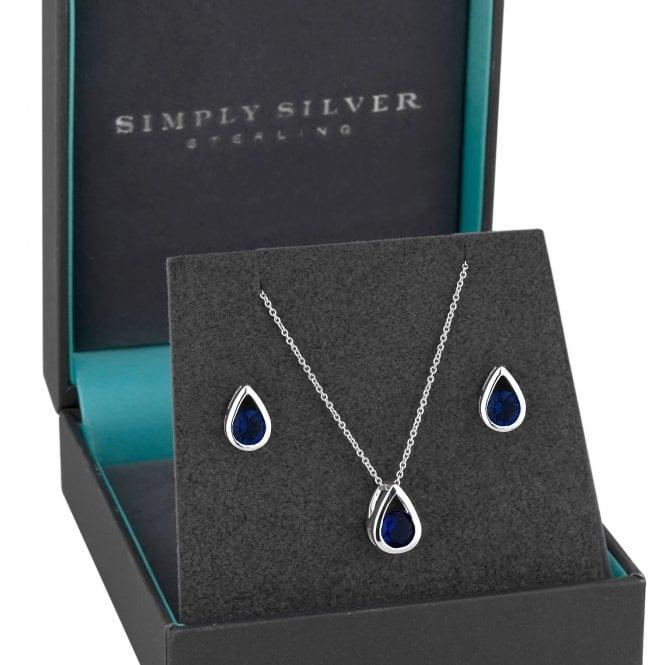 Sterling Silver Cubic Zirconia Peardrop Jewellery Set