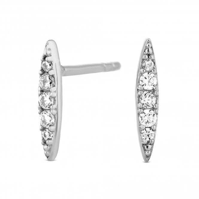 Sterling Silver Cubic Zirconia Pointed Stud Earring