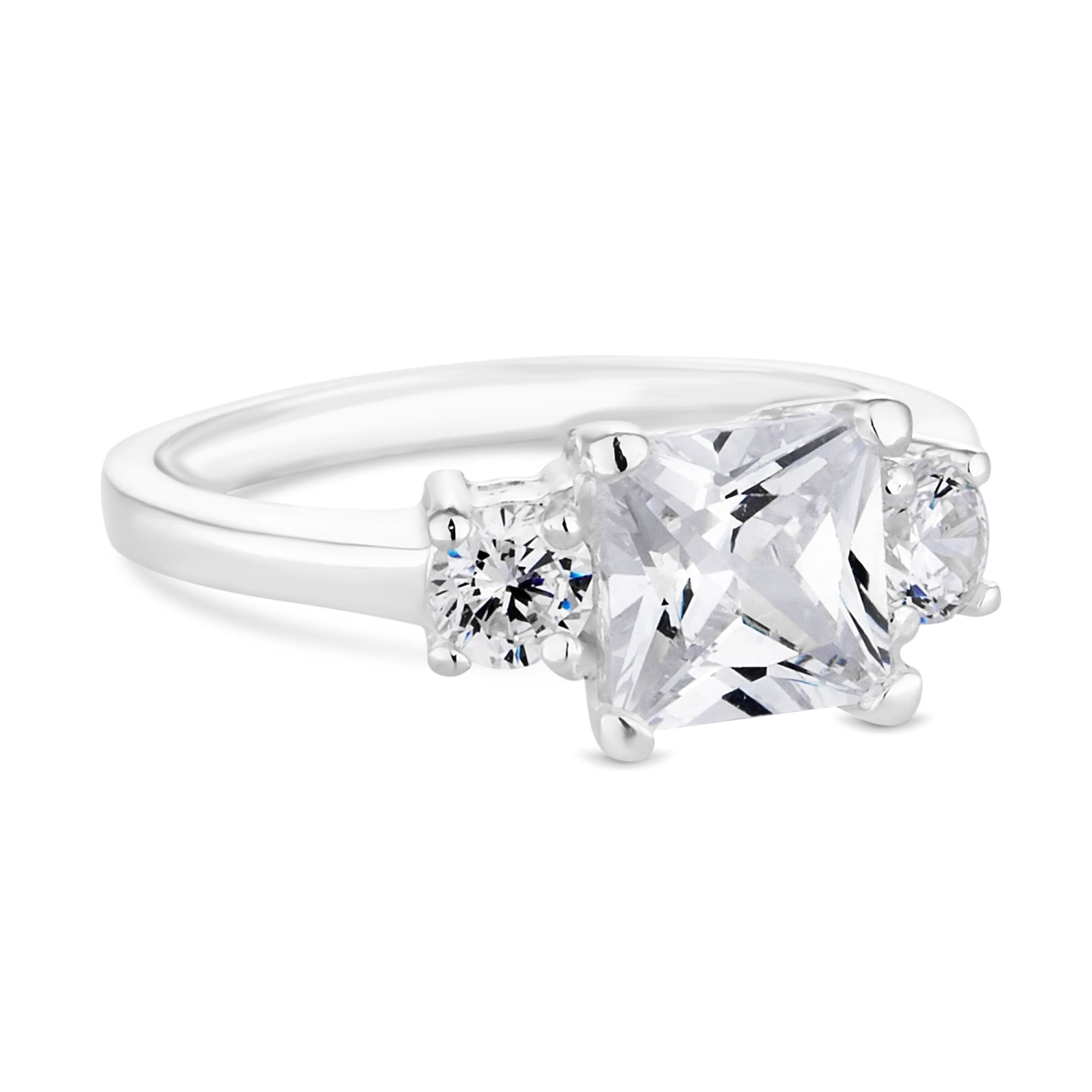Sterling Silver Cubic Zirconia Princess Trilogy Ring