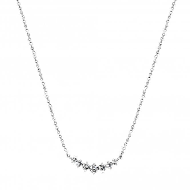 Sterling Silver Cubic Zirconia Row Necklace