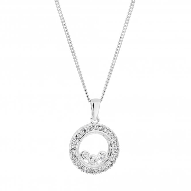 Sterling Silver Cubic Zirconia Shaker Pendant Necklace