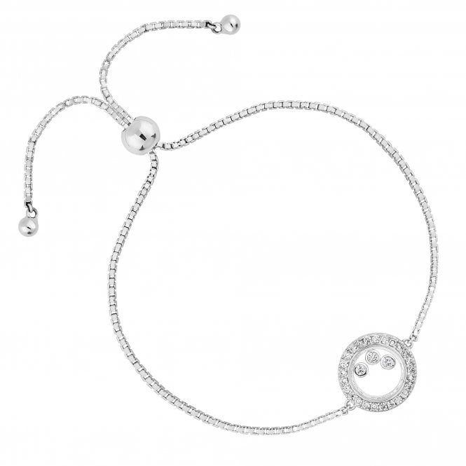 Sterling Silver Cubic Zirconia Shaker Toggle Bracelet