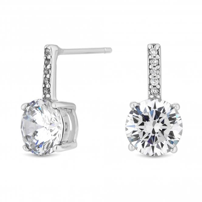 Sterling Silver Cubic Zirconia Solitaire Drop Earring