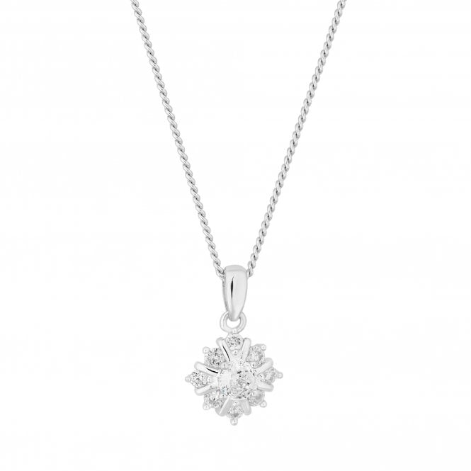 Sterling Silver Cubic Zirconia Solitaire Pendant Necklace