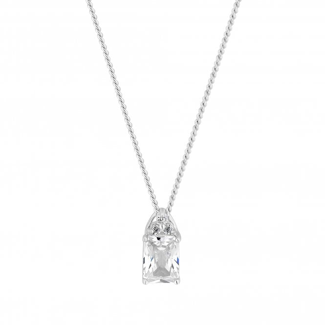 Sterling Silver Cubic Zirconia Square Cut Pendant Necklace