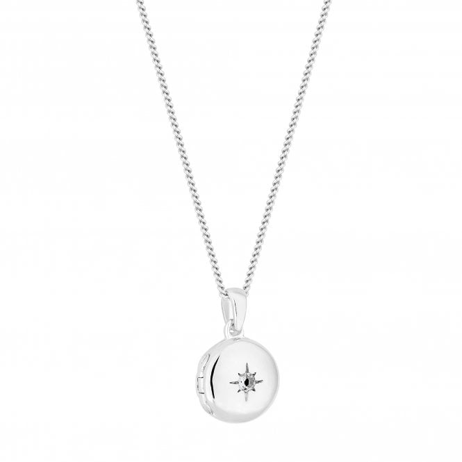 Sterling Silver Cubic Zirconia Star Locket Necklace