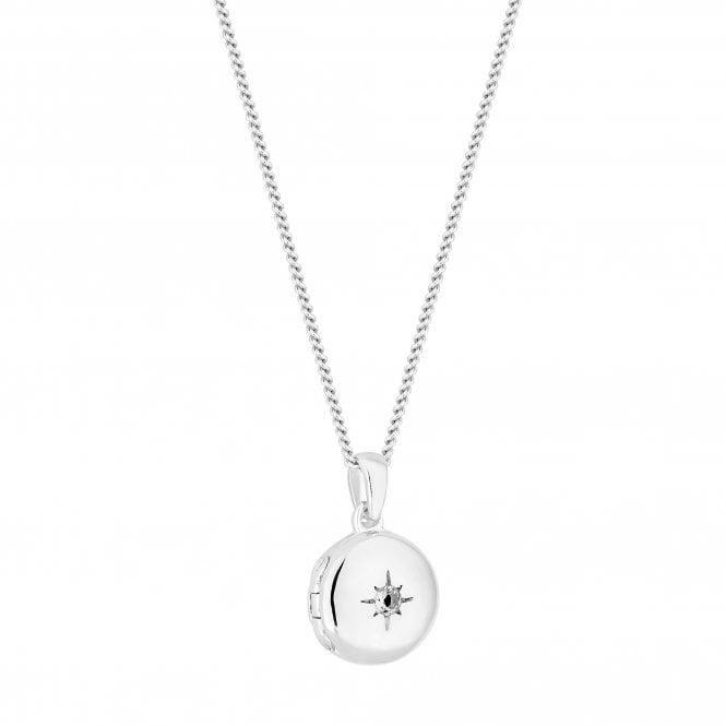 Sterling Silver Cubic Zirconia Star Locket Necklace