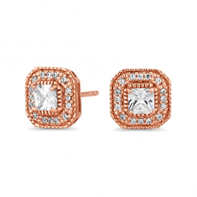 14ct Roase Gold Plated Sterling Silver Square Cubic Zirconia Stud Earring