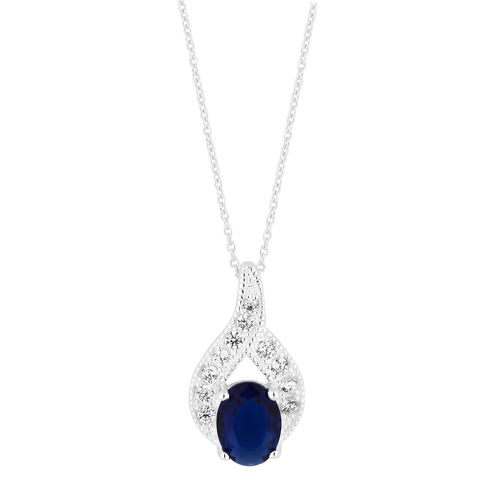 brilliant b plated silver blue cut sapphire pendant simulated product
