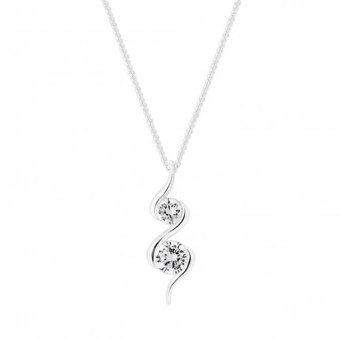 Sterling Silver Cubic Zirconia Swirl Pendant Necklace