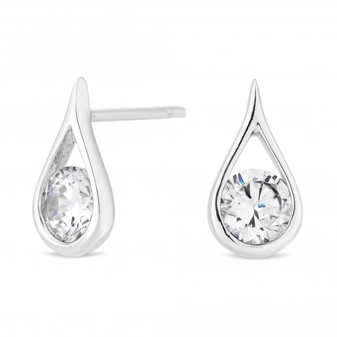Sterling Silver Cubic Zirconia Tear Drop Stud Earring