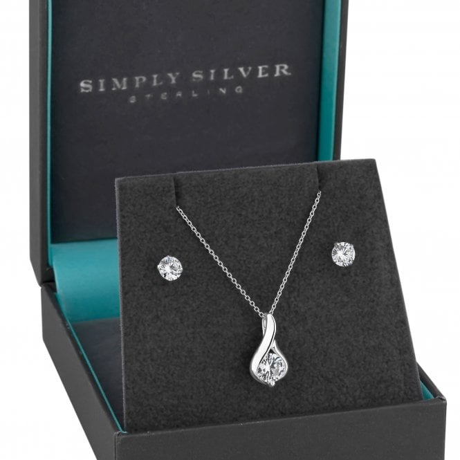 Sterling Silver Cubic Zirconia Teardrop Jewellery Set