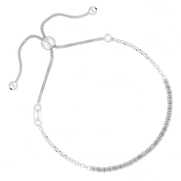 Sterling silver cubic zirconia toggle bracelet