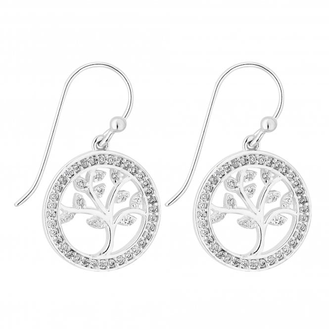 Sterling Silver Cubic Zirconia Tree Of Life Drop Earring