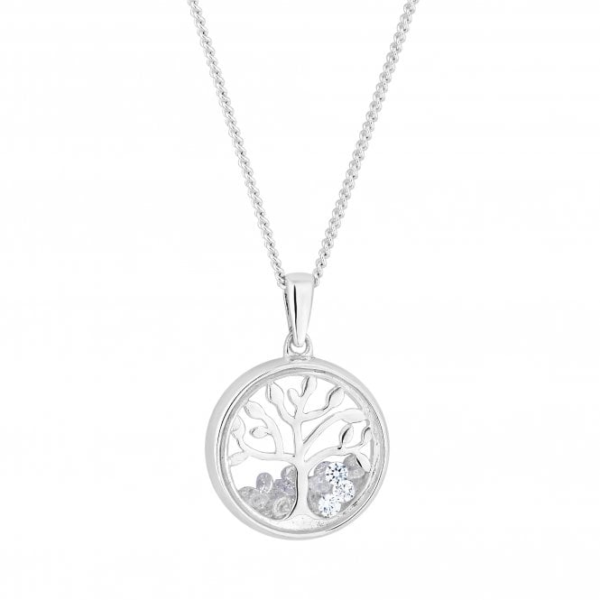 Sterling Silver Cubic Zirconia Tree Of Life Shaker Pendant Necklace
