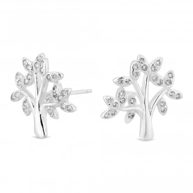 Sterling Silver Cubic Zirconia Tree Of Life Stud Earring