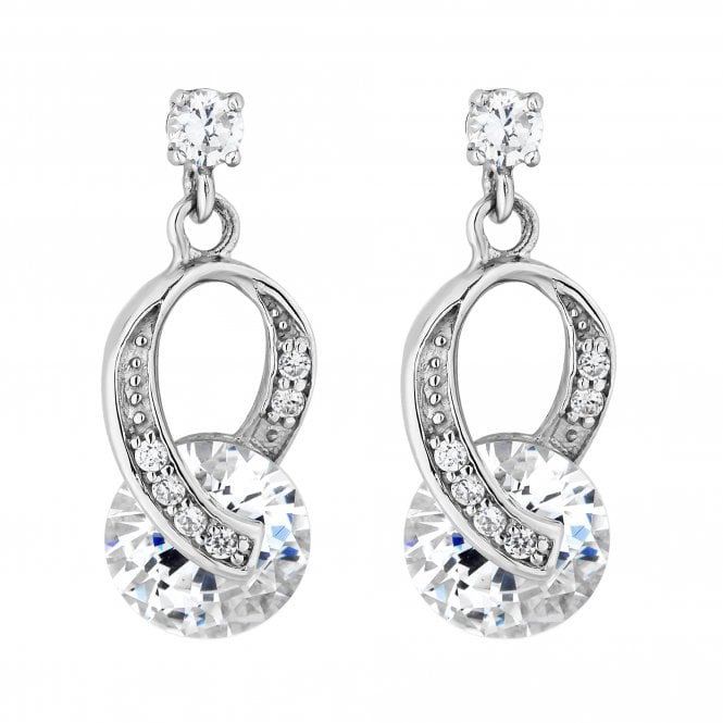 Sterling Silver Cubic Zirconia Twist Drop Earring