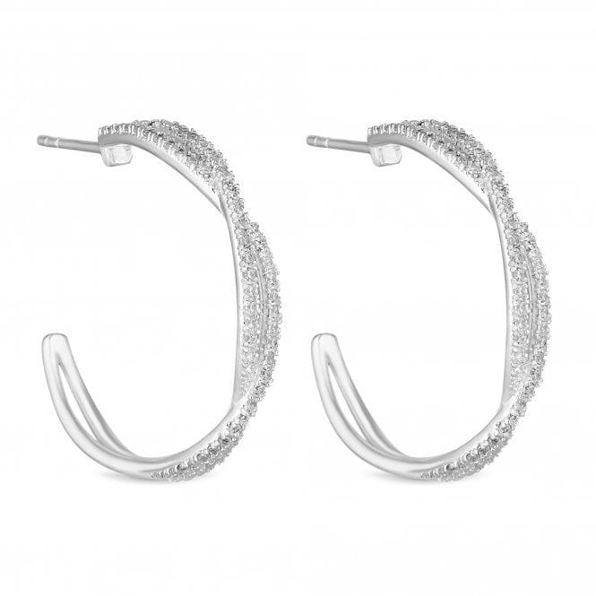 Sterling Silver Cubic Zirconia Twist Hoop Earring
