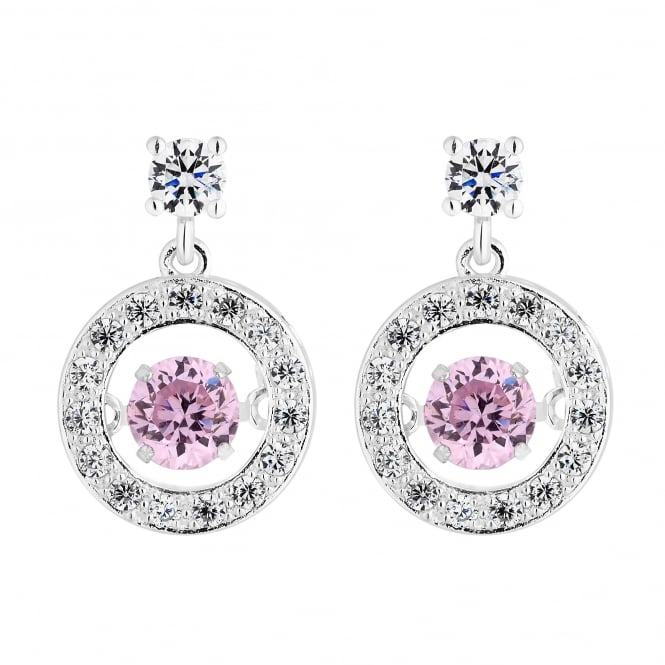 Sterling Silver Pink Suspended Dancing Cubic Zirconia Halo Drop Earring