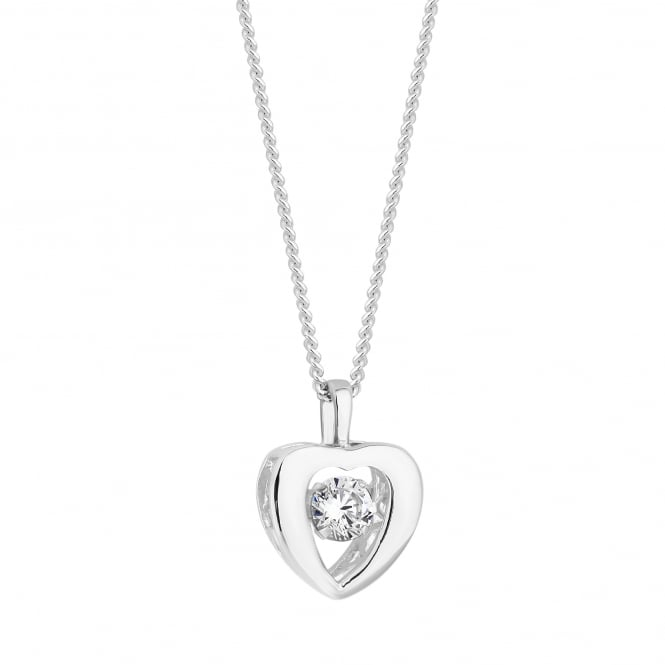 Simply Silver Sterling silver dancing gemstone heart necklace