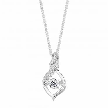 Sterling Silver Suspended Dancing Cubic Zirconia Twist Pendant Necklace