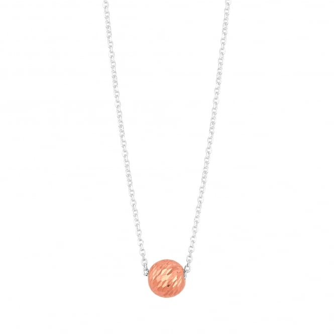 14ct Rose Gold Plated Sterling Silver Diamond Cut Ball Necklace