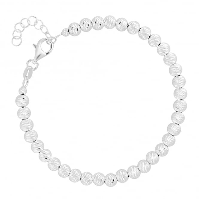 Sterling Silver Diamond Cut Full Beaded Bracelet