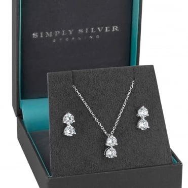 Sterling Silver Double Cubic Zirconia Jewellery Set In A Gift Box
