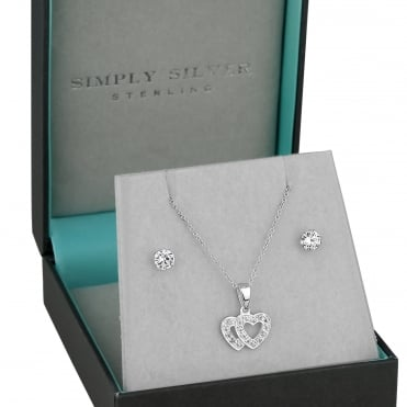 Sterling silver double heart jewellery set