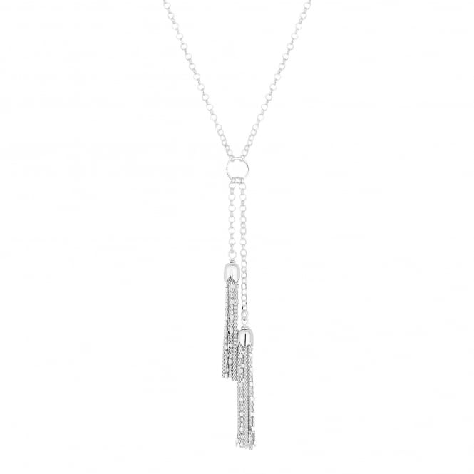 Sterling Silver Double Tassel Y Drop Necklace