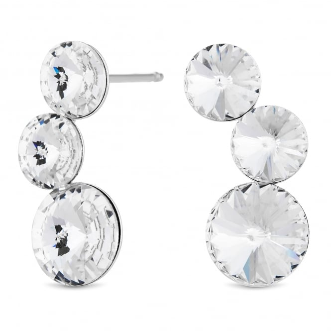 Sterling Silver Ear Climber Earring Embellished With Swarovski Crystals
