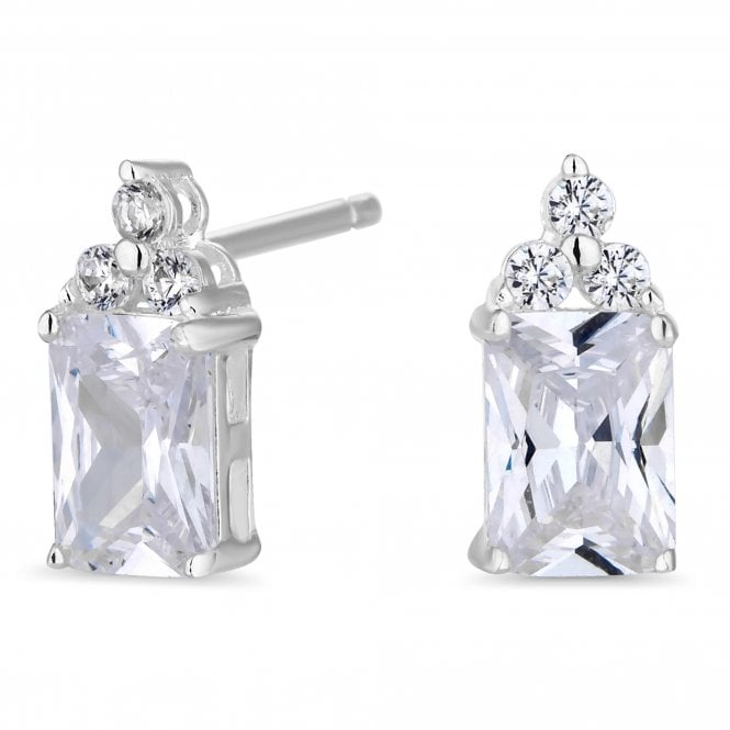 Sterling Silver Emerald Cut Stud Earring