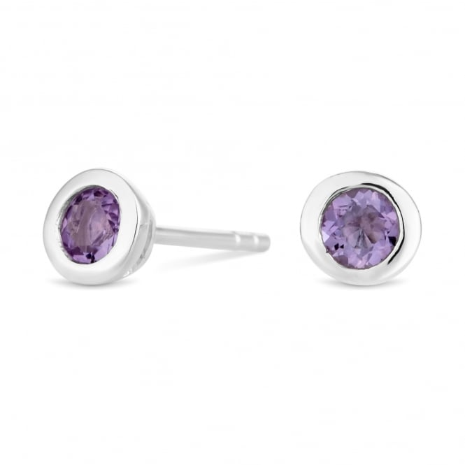 Sterling Silver Purple Amethyst February Birthstone Stud Earring
