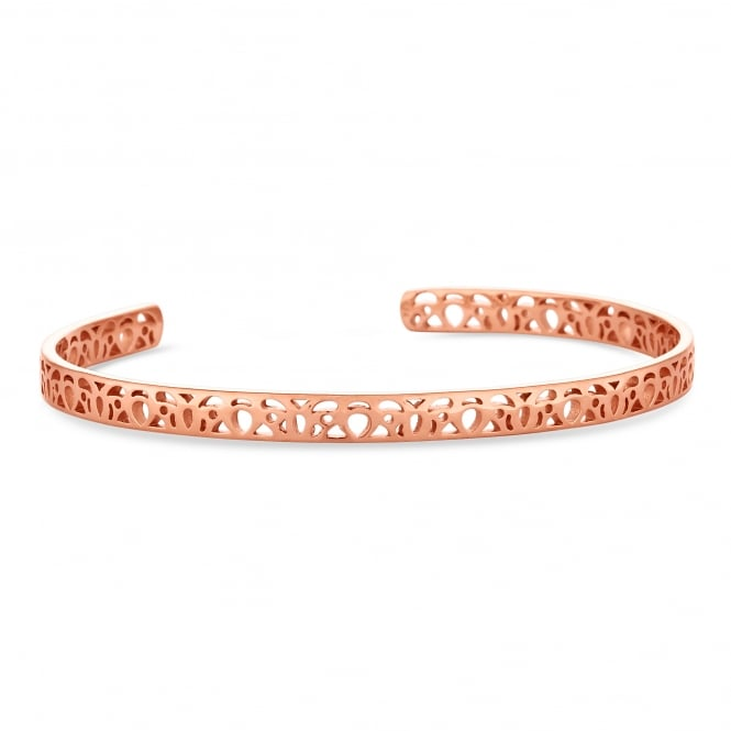 Simply Silver 14ct Rose Gold Plated Sterling Silver Filigree Cuff Bangle