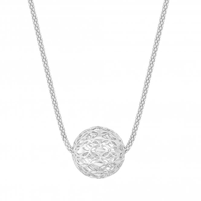 Sterling Silver Filigree Bead Pendant Necklace