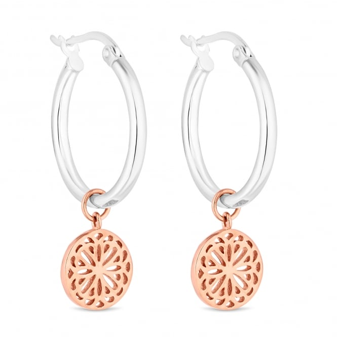 Simply Silver 14ct Rose Gold Plated Sterling Silver Flower Filigree Disc On A Sterling Silver Hoop Earring