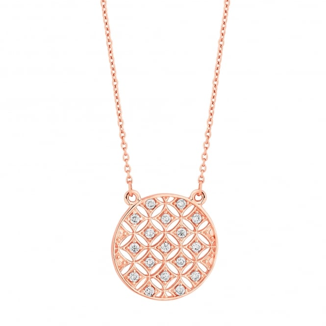 14ct Rose Gold Plated Sterling Silver Cubic Zircoina Oversized Filigree Disc Necklace