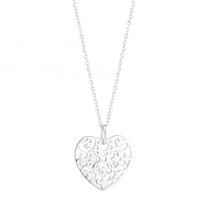 Simply Silver Sterling silver filigree heart necklace