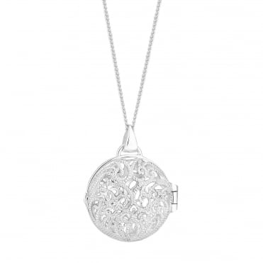 Sterling Silver Filigree Round Locket Necklace