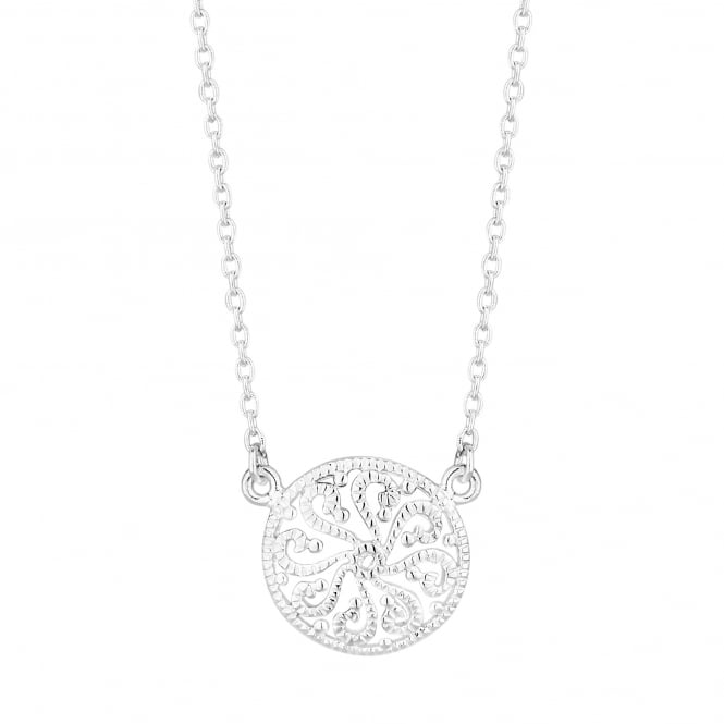 Sterling Silver Cubic Zirconia Filigree Swirl Necklace