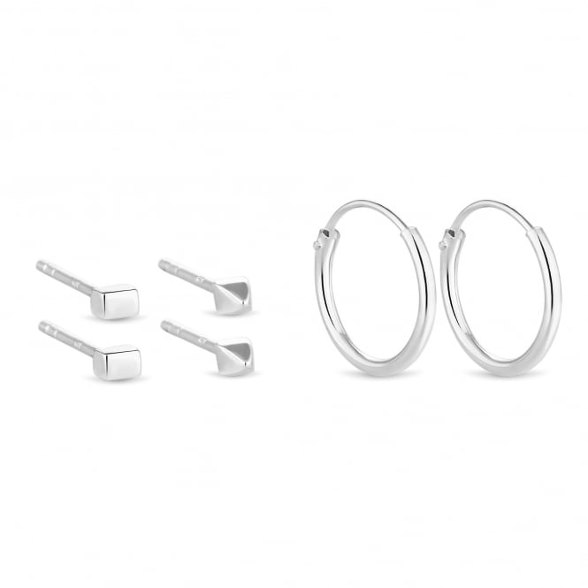 Simply Silver Sterling Silver Square/ Geometric/ Hoop Earring Set - Pack of 3