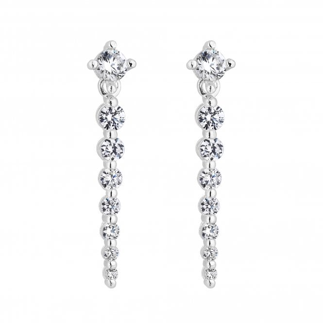 Sterling Silver Graduated Cubic Zirconia Drop Earring