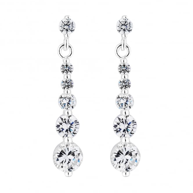 Sterling Silver Cubic Zirconia Graduated Drop Earring