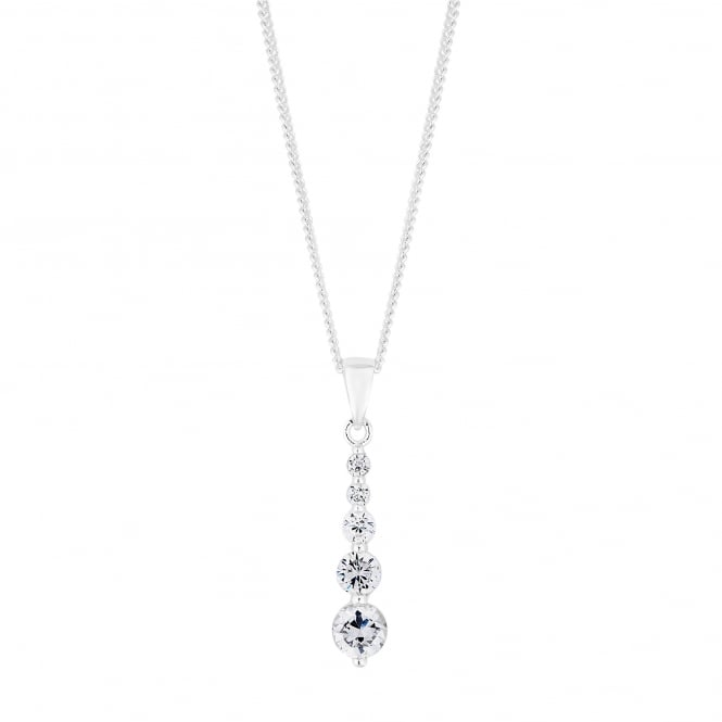 Sterling Silver Cubic Zirconia Graduated Drop Pendant Necklace