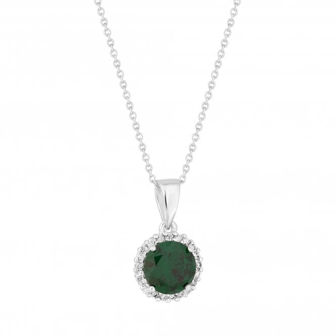 Sterling Silver Green Cubic Zirconia Halo Pendant Necklace
