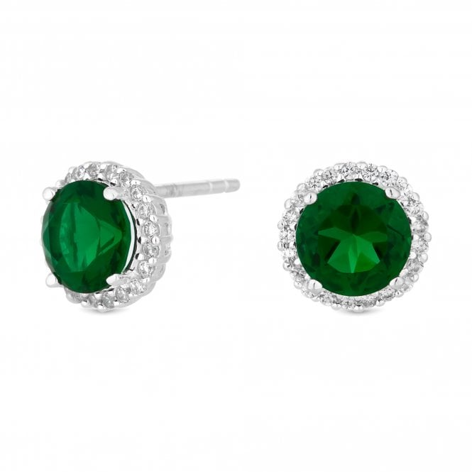 Sterling Silver Green Cubic Zirconia Halo Stud Earring