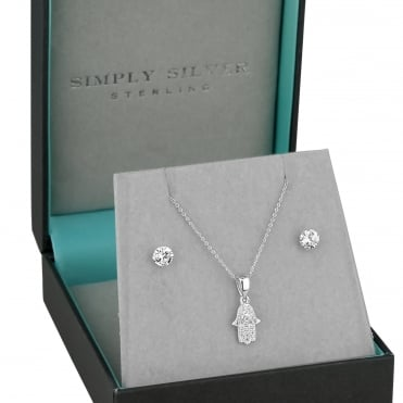 Sterling silver hamsa hand jewellery set
