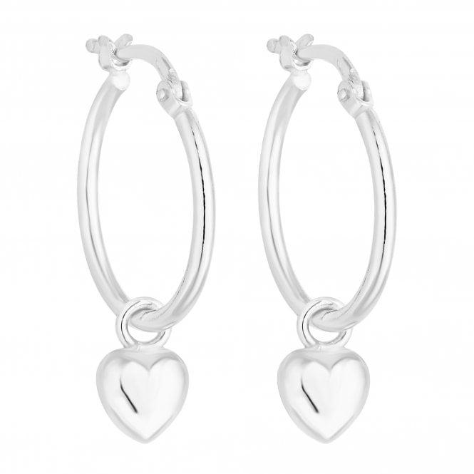 Sterling Silver Heart Charm Hoop Earring