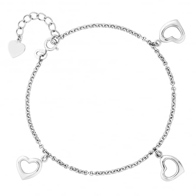 Simply Silver Sterling Silver Heart Charm Bracelet